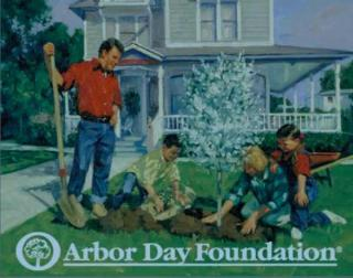 Drawing of Family in yard - Father holding rake and looking down at wife and 2 children planting a tree